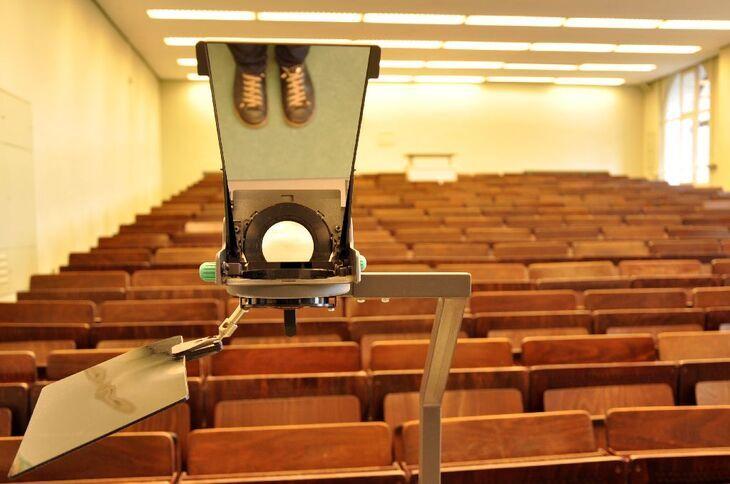 Lecture hall and overhead projector
