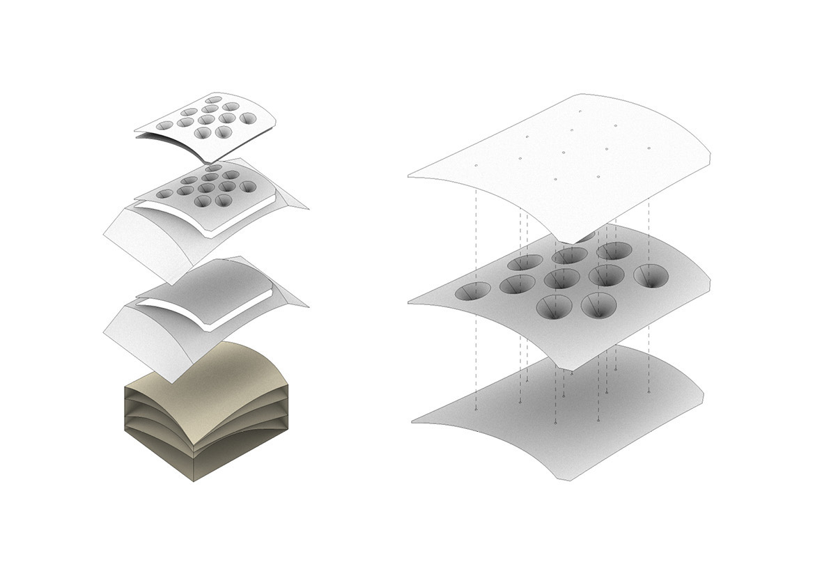 Tensile structures made from thin sheet panels