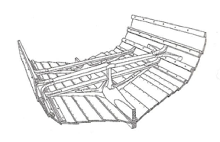 Reconstruction of a viking ship (skudelev ship) with bend 'knes' to attach beams