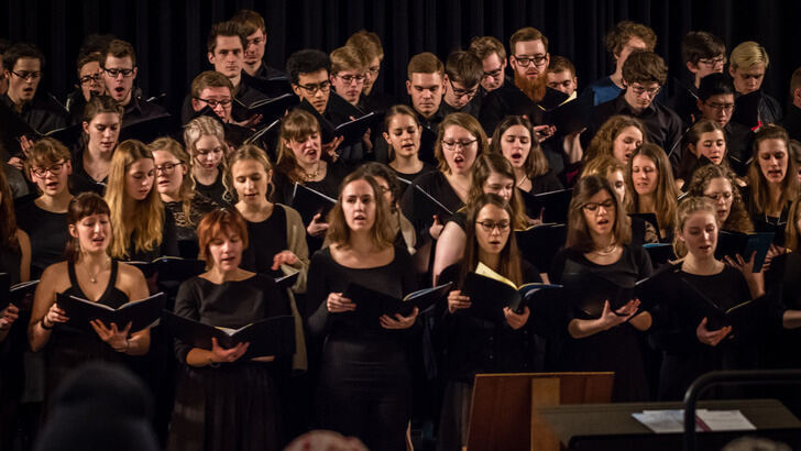 Choir on stage at coronation hall