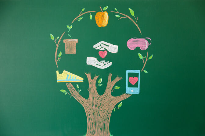 A tree drawn onto a blackboard